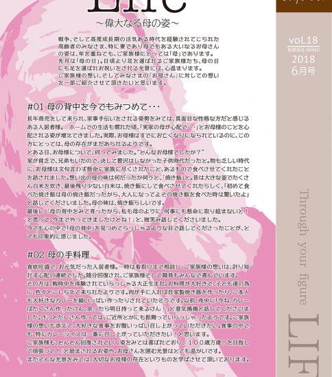 法人広報誌「しゅん's Cafe' time」 Vol 18 (2018.6月号)発行いたしました。